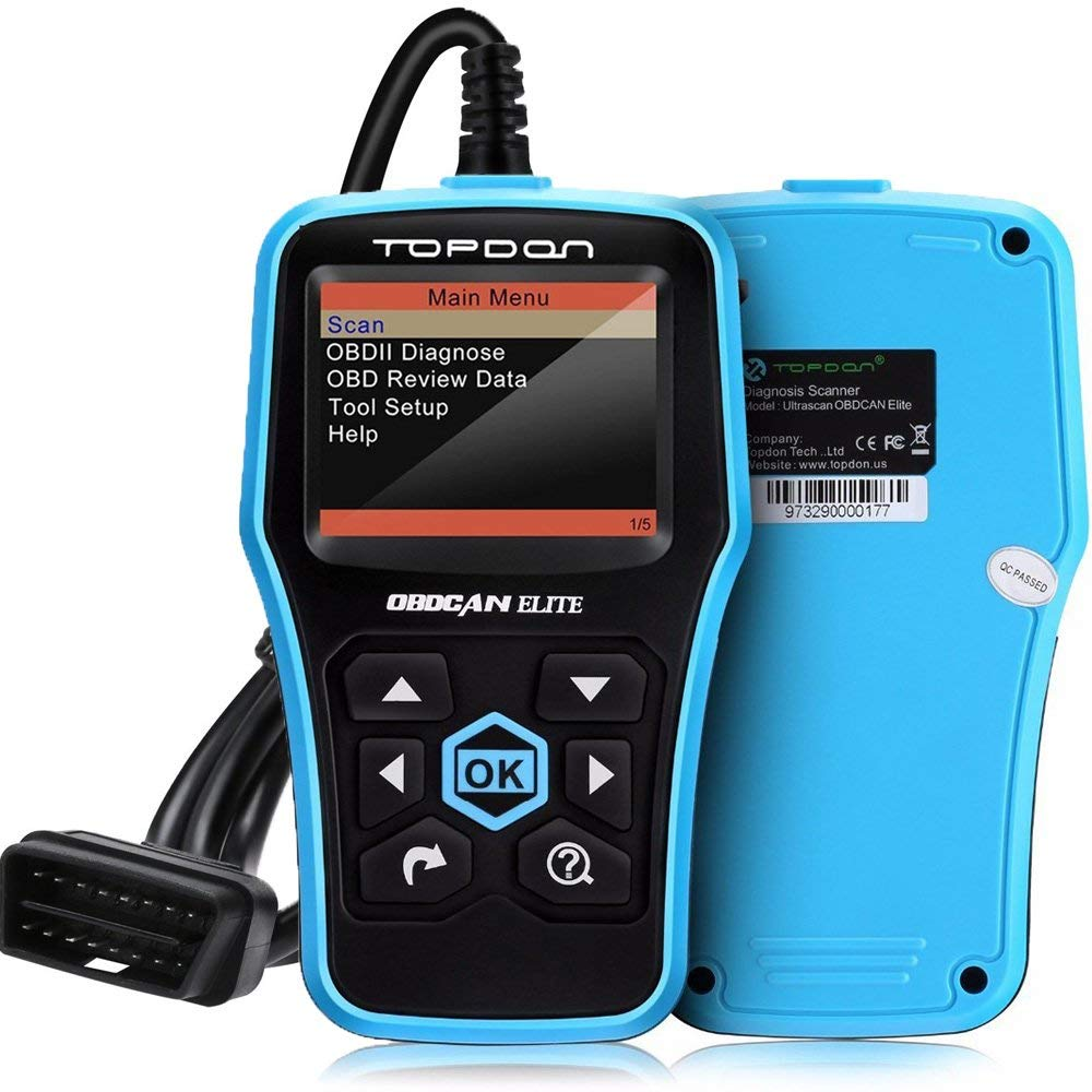 TOPDON Elite OBD2 Scanner ABS//SRS Diagnostic Tool for Full OBD2 Functions and ABS//SRS Warning Light Turn-off with Built-in DTC Lookup