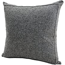 Jepeak Burlap Linen Throw Pillow Case Cushion Cover Home Decorative Solid Square Pillowcase, Thick, Luxury, Handmade with Invisible Zipper for Sofa Couch Bed (16 x 16 Inches, Dark Grey)