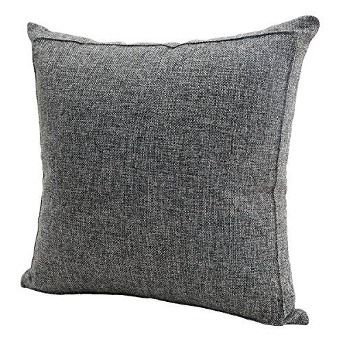 Burlap Linen Throw Pillow Case Cushion Cover Home Decorative Solid Square Pillowcase, Thick, Luxury, Handmade with Invisible Zipper for Sofa Couch Bed (16 x 16 Inches, Dark - Decorative 16 Inch Throw