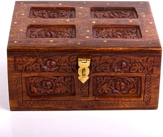 SongMyao Caja De Joyería Caja China Joyas Antiguas De Madera De Vestir De Estilo Retro Caja De Madera Regalo De Cumpleaños Creativo Pantalla De Almacenamiento Caso (Color : Brown, Size : 30×20×12cm):