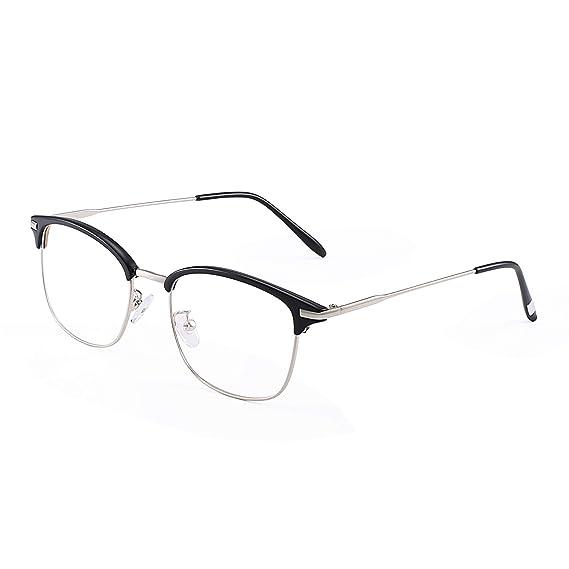 9abd09b1cc5 Vintage Semi-rimless Rx-able Eyeglasses Metal Optical Glasses Frame for Men  Black