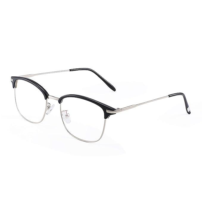 594e8cc837 JM Vintage Semi-rimless Clear Lens Glasses Classic Half Frame Eyeglasses  Black