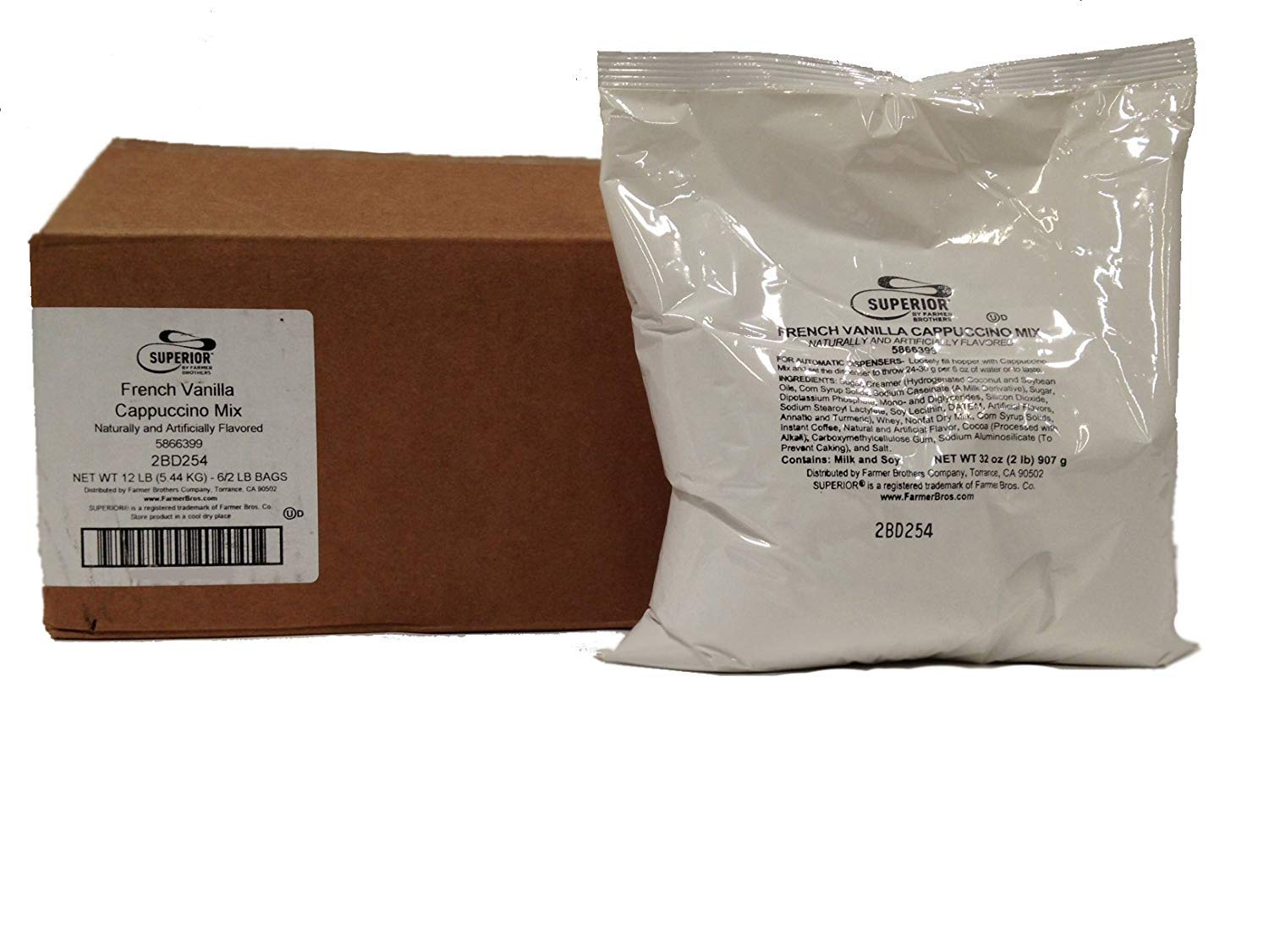 Superior French Vanilla Cappuccino Mix (6 bags/2 lbs each) by Superior