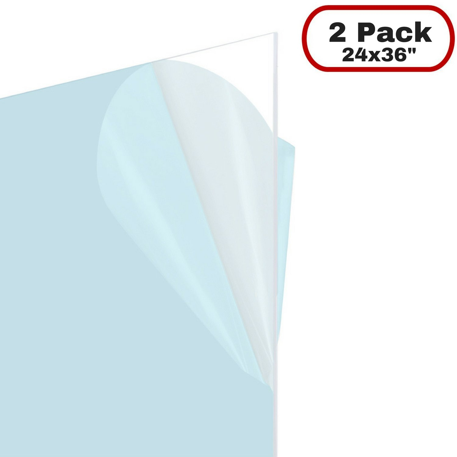 Icona Bay Flexible Clear Plastic Sheet (24x36 inch, 2 Pack, 0.03'' Thick), Multi Purpose PET (Polyethylene Terephthalate) Is Shatterproof, Lighter Easier To Cut Than Acrylic and Plexiglass Sheets