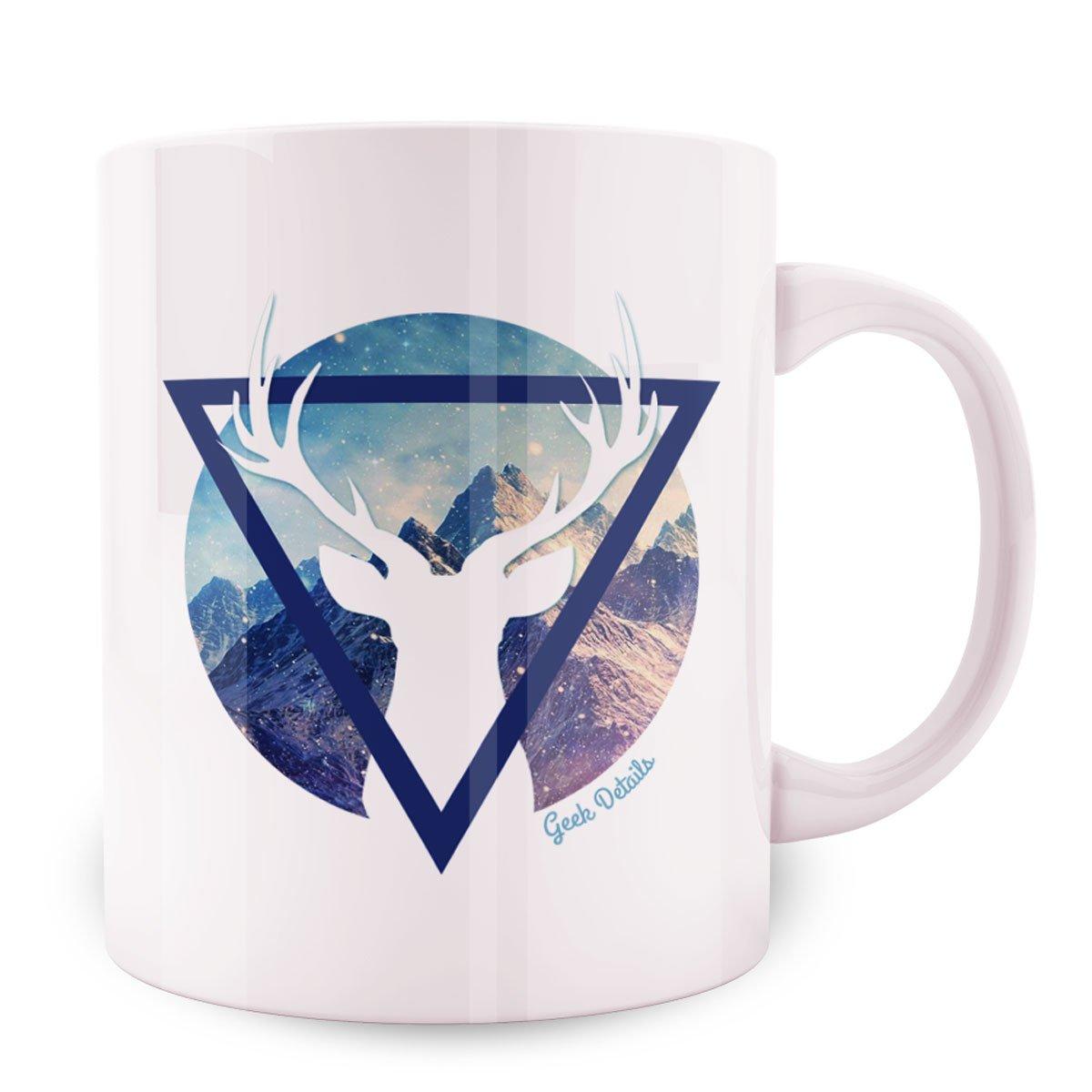 Geek Details Spirit Animal Themed Coffee Mug, 11 oz, White (Deer)