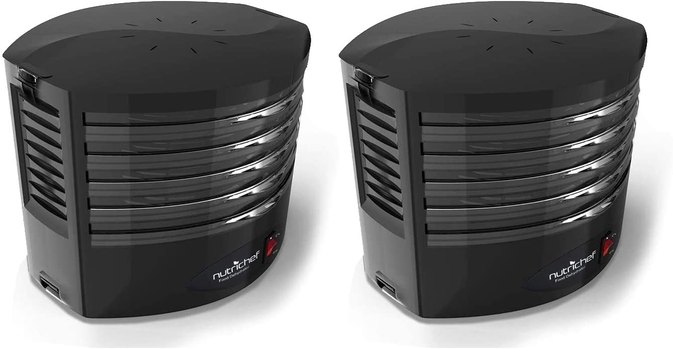 NutriChef PKFD19BK Kitchen Countertop Electric Food Dehydrator Preserver Machine with High Heat Circulation and 5 Flippable Tray Racks for Jerky, Meat, Herbs, Spices, Fruit, and Vegetables (2 Pack)