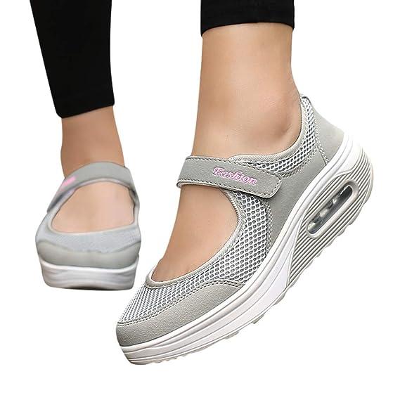LILIHOT Frauen leichte atmungsaktive Mesh-Schuhe erhöht Freizeitschuhe Outdoor Casual Sportschuhe Dickes Ende Erwachsene Stra