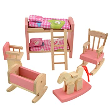 Demiawaking Delicate House Furniture Pink Wooden Dolls Toy Miniature Baby  Nursery Room Crib Chair Bunk Bed