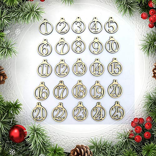 1-25 Vintage Wooden Christmas Countdown Advent Calendar Number DIY Gift Tags Christmas Countdown Tags Halloween Hanging Decor for Wedding Party Favor Label Cards Decoration Wood (Yellow)