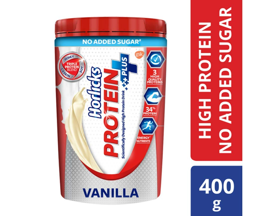 Horlicks Protein, Health and Nutrition Drink, No Added Sugar, 400g Jar (Vanilla) product image