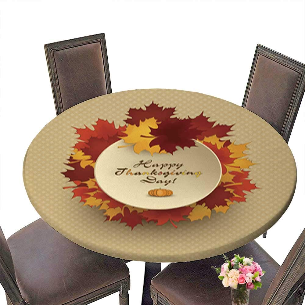 Round Table in Washable Polyeste Happy Thanksgiving Banquet Wedding Party Restaurant Tablecloth up to 31.5''-33.5'' Diameter