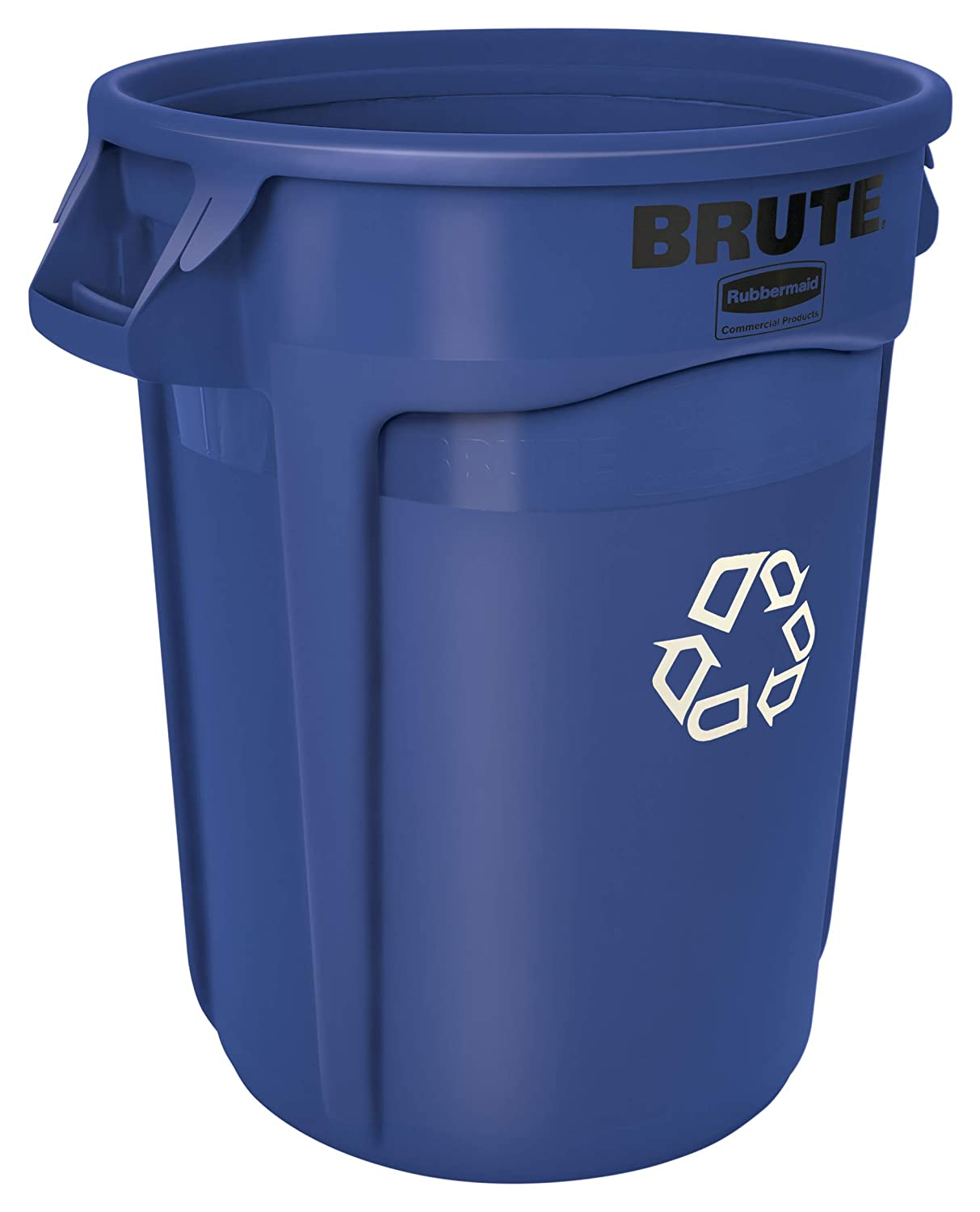 Rubbermaid Commercial Products FG262073BLUE BRUTE Heavy-Duty Round Recycling/Composting Bin, 20-Gallon, Blue Recycling