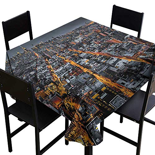 SKDSArts Waterproof tablecloths City,Avenues to Midtown NYC,W54 x L54 Square Tablecloth -
