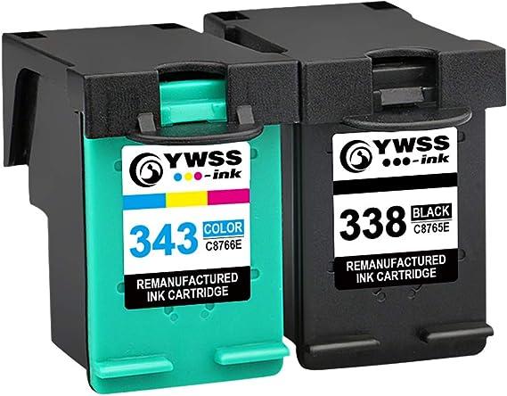 YWSS Remanufacturado Cartucho de Tinta para HP 338 HP 343 HP338 343 Alto Rendimiento Cartucho de Tinta (1 Negro +1 Tricolor) C8765E /C8766E para HP DeskJet 460/5740/6540/6620/6840/9800/6540 6540D: Amazon.es: Electrónica