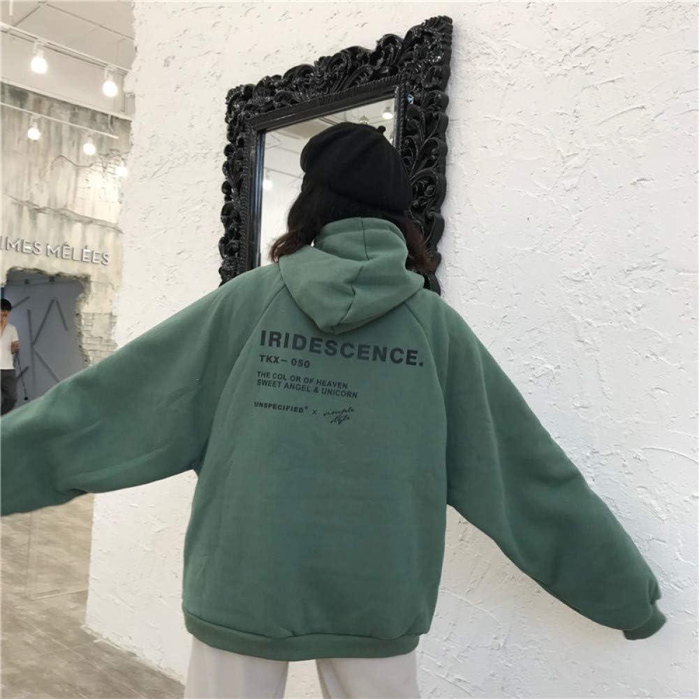 Kipeee Sweatshirts Hoodies Dicker Plus Samt Warme Weiche Buchstaben Gedruckt Einfache Allgleiches Taschen Freizeit Pullover Damen Trendy Sweatshirts green