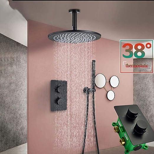 Grifo de ducha termostático Gorheh Baño montado en el techo negro ...