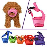 YAMAY Nylon Mesh Adjustable Velcro Dog Muzzles for Barking, Biting and Chewing, S , Pink