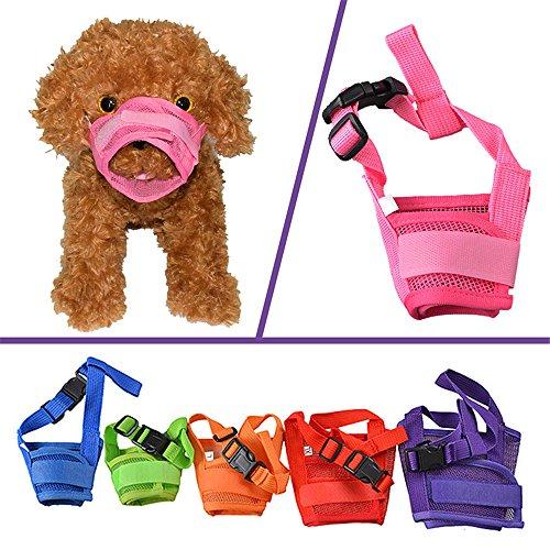 Adjustable Nylon Dog Muzzle (YAMAY Nylon Mesh Adjustable Velcro Dog Muzzles for Barking, Biting and Chewing, XL , Pink)