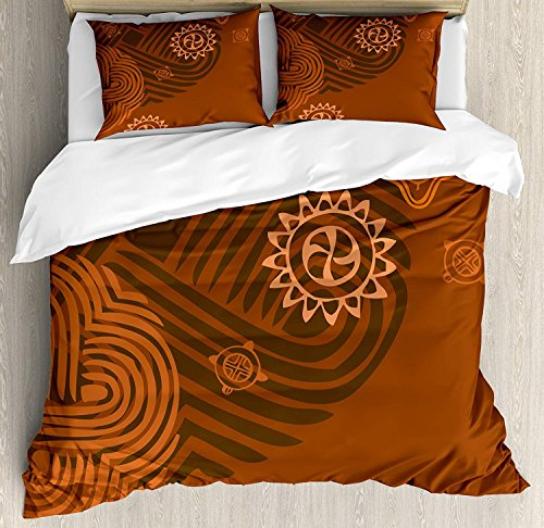 Earth Tones Queen Bedding Duvet Cover Set, 4 Piece Hotel Quality Luxury Soft Brushed Microfiber, Artistic Ethnic Composition with Floral Intricacy African Folk Details