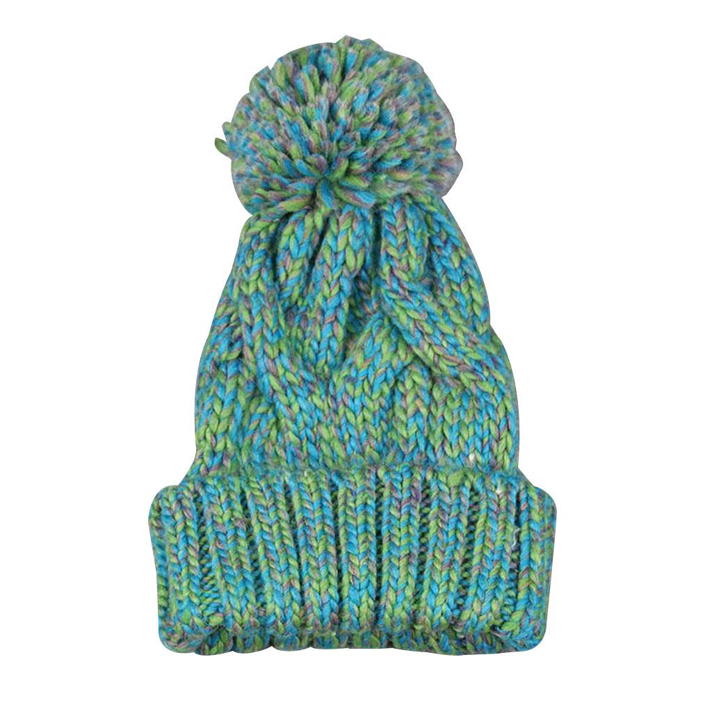 fe6000c8ace Leenly Women s Winter Soft Knitted Beanie Hat with Faux Fur Pom Pom Green   Amazon.in  Clothing   Accessories