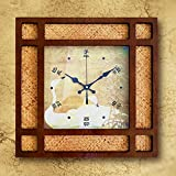 AYYA Creative clock wooden wall clock retro creative clock square brown white goose