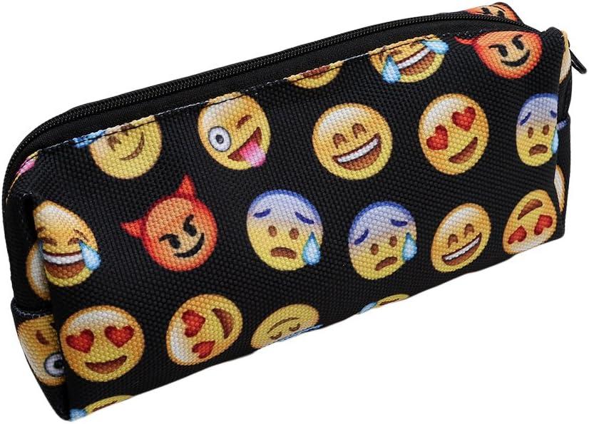 Canción de lino negro 3d impresión Emoji papelería estuche Oxford lápiz de alta capacidad bolsas: Amazon.es: Hogar