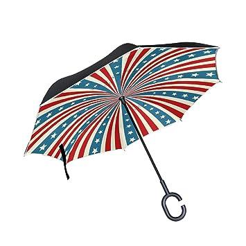 ALINLO Paraguas invertido Bandera Estadounidense, Doble Capa, Resistente al Agua para Coche Lluvia al