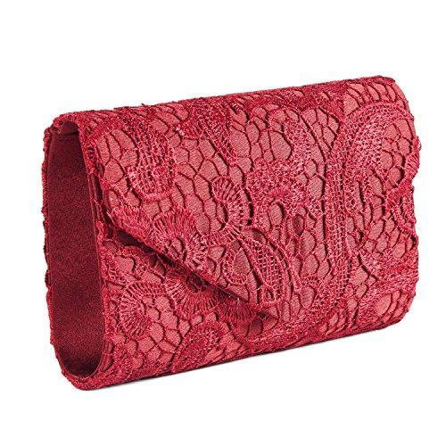 SYMALL Bolso de mano con encaje satén cartera de mano estilo elegante dulce bolso de fiesta para mujer Rojo