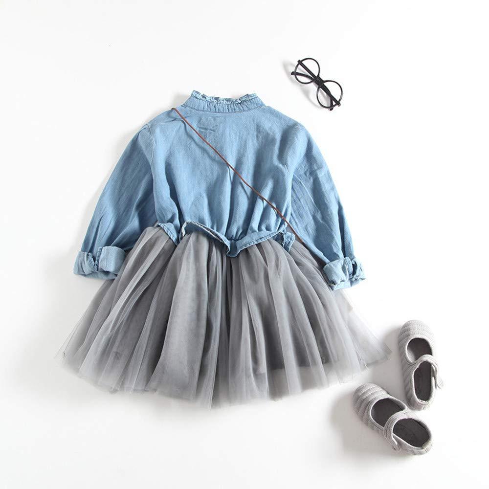 Vestido Bebé Niñas, ❤️ Modaworld Vestido de Mezclilla para niñas pequeñas Vestido de Princesa tutú de Manga Larga Ropa para Vaqueros Primavera Otoño