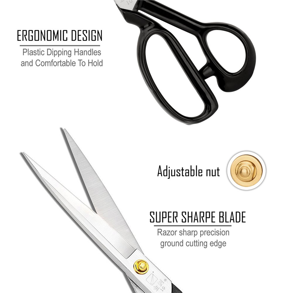 Sewing Scissors 10 inch - Heavy Duty Industrial High Carbon Steel (Right-handed, White) by House Deluxe (Image #3)