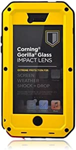 Mangix iPhone 5C Case, Water Resistant Shockproof Aluminum Metal [Outter] Super Anti Shake Silicone [Inner] Fully Body Protection with Gorilla Glass Screen for Apple iPhone 5C (Yellow)
