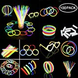 Teepao Glow Sticks Bulk 100 8'' Glowsticks,Bracelets Glow Necklaces Glow-In-The-Dark Light-up Party Favors