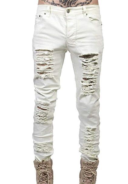 Laisla fashion Pantalones Vaqueros Flacos De Los Hombres ...