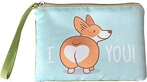 Rantanto Cute Canvas Cash Coin Purse, Make Up Bag, Cellphone Bag With Handle (BG0009 Corgi Dog)