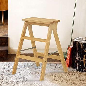 GOG Taburete, escalera plegable Taburetes Escaleras Escalera en espiga multifunción móvil Ascender estable,madera color: Amazon.es: Bricolaje y herramientas