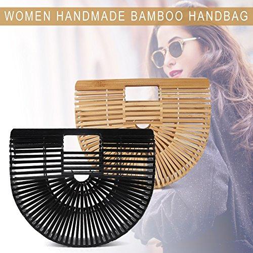 Semi Black À Sac Artisanal Femme circulaire Bambou Main Fourre Delaman Tout TagwqAZ8Ax