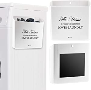 ELTOW Lint Bin for Laundry Rooms | Home Organization Wastebasket with Magnetic Backing to Attach to Washer or Dryer | Slim Trash Makes Beautiful Room and Wall Décor