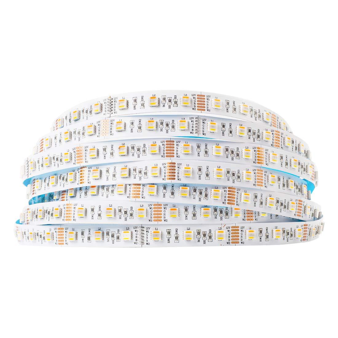 BTF-LIGHTING 5050 RGBWW RGB+Cool White+Warm White 5 Colors in 1 LED 5m 16.4ft 60LEDs/m Multi-Colored LED Tape Lights IP30 Non-Waterproof DC12V
