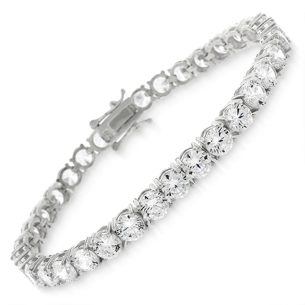 Sterling Silver 5mm Brilliant-Cut Clear Round CZ White Tennis Bracelet 6.5'', 7'', 8'' (8)