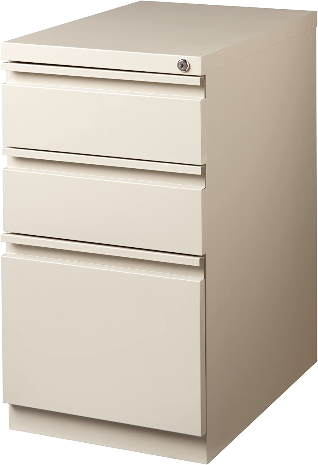 "Office Dimensions Commercial Grade 33232"" Deep Mobile Pedestal File Cabinet, 332  Drawers (32 Storage, 32 File), Putty"