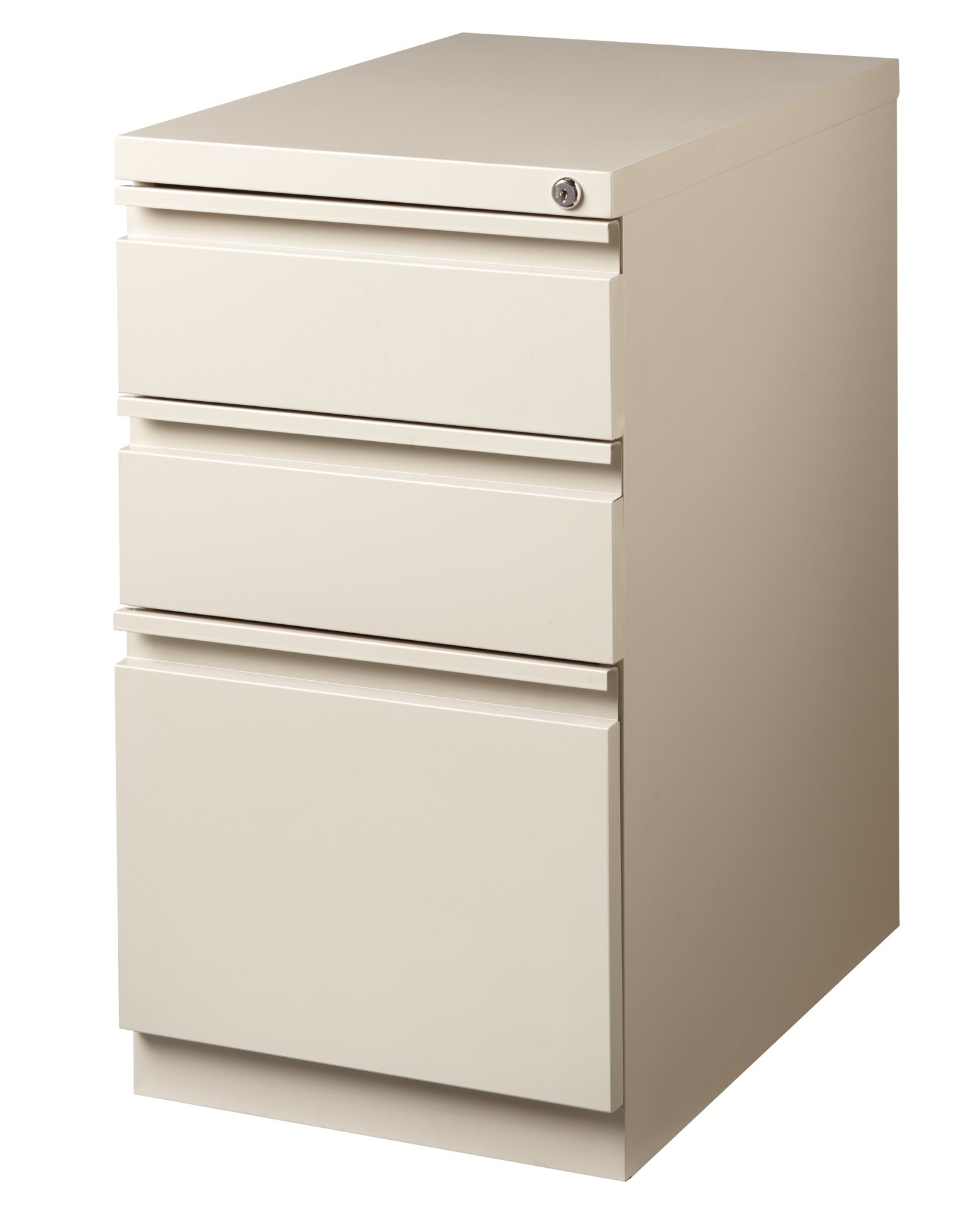 Office Dimensions Commercial Grade 20'' Deep Mobile Pedestal File Cabinet, 3 Drawers (2 Storage, 1 File), Putty