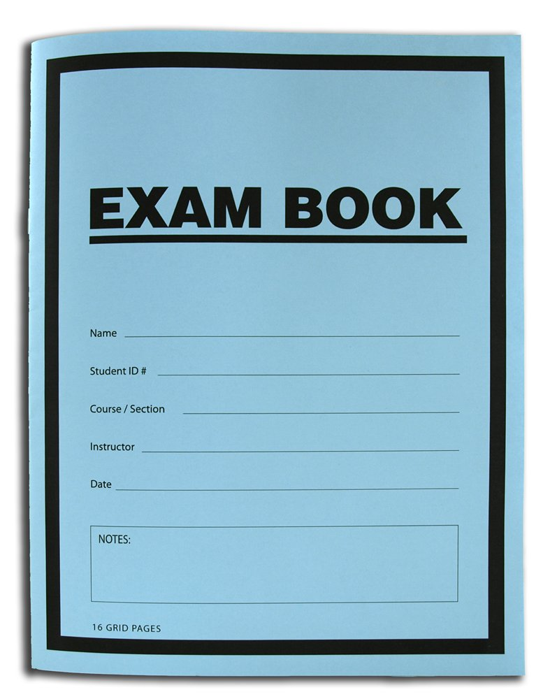 BookFactory Exam Blue Book / Blue Exam Book / Blue Test Book (Grid Format) 8 1/2 x 11 - 16 Numbered Pages (25 Pack) Saddle Stitched (LAB-016-7GSS (Exam Book) 25 Pack)