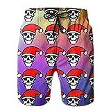 Santa Hat Skull Men's Summer Beach BoardshortsL