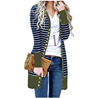 EnergyWDWomen Plus-Size Striped Mid-Length Long Sleeve Fashion Cardigan Sweater