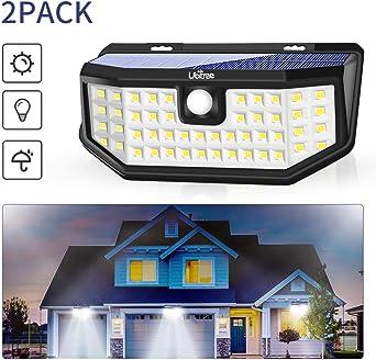 Ubitree Luces Solares LED Exterior, 48LED Lámpara Solar con Sensor de Movimiento Impermeable Foco Solar Exterior Luz Solar de Pared para Jardín Garaje Camino Patio Balcón Terraza Acera, 2 Paquete: Amazon.es: Iluminación