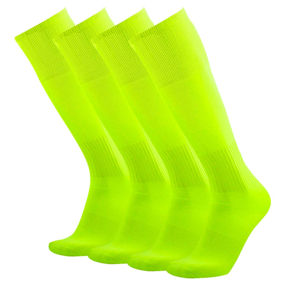Soccer Team Socks, Three street Men's Women's Half Cushioned Solid Over Knee Breathable Sport Compression Soccer Football Volleyball Schoool Game Socks Neon Yellow 4 Pairs by Three street
