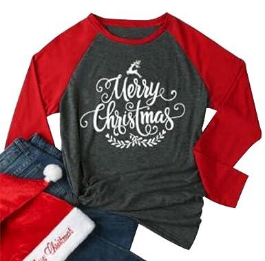 1b93fc680 Merry Christmas Tree Holiday T Shirt Women Funny Christmas Reindeer O-Neck  Long Sleeve Splicing Baseball Tees Tops at Amazon Women's Clothing store: