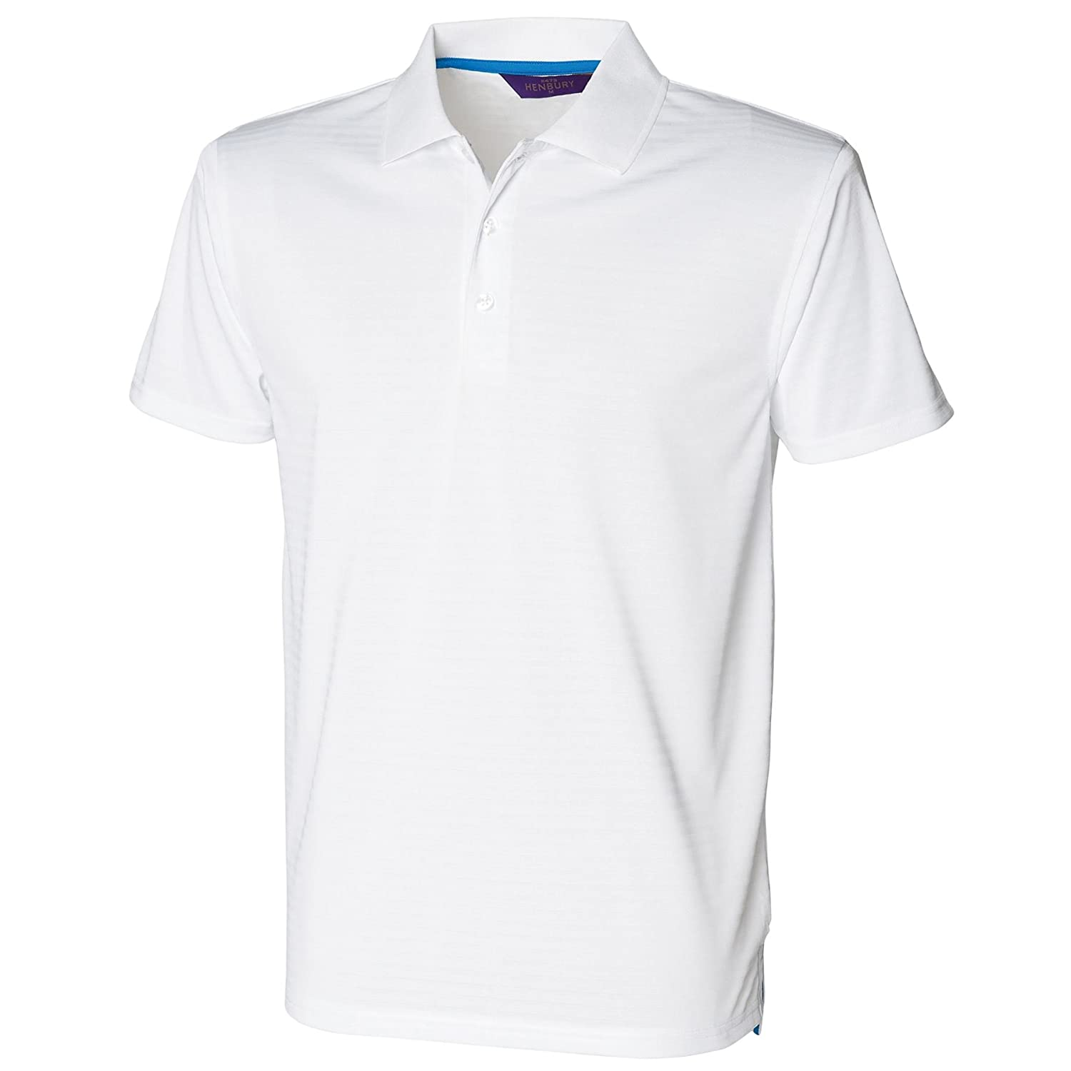 Henbury-Mens Poloshirts-Tops-Cooltouch textured stripe polo shirt