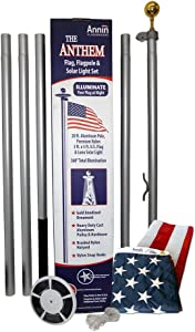 American Flag and Flagpole Set - 20 ft. Aluminum 5-section In-Ground Flagpole and US Flag 3x5 ft. SolarGuard Nylon by Annin Flagmakers, Anthem Kit Model 742371