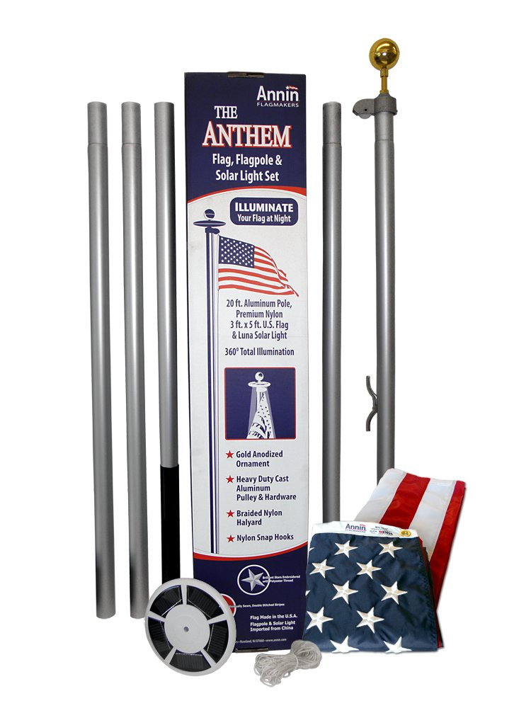 American Flag and Flagpole Set - 20 ft. Aluminum 5-section In-Ground Flagpole and US Flag 3x5 ft. SolarGuard Nylon by Annin Flagmakers, Anthem Kit Model 742371 by Annin Flagmakers